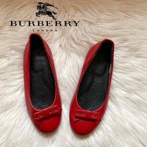 BURBERRY Girl Red Leather Bow Ballerina Flats